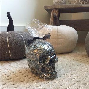 Halloween Decor Black & Gold Skull Candle NEW